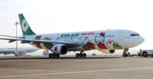 Hello Kitty plane at EVA airline.