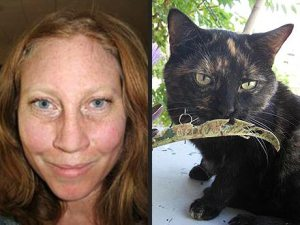 Rescued hiker Margaret Page and Maya the cat