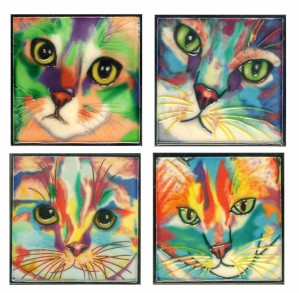 Coaster size cat face tiles by Claudia Sanchez