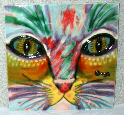 Ceramic cat tile, Samantha, by Claudia Sanchez