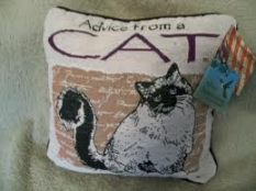 """Advice from a Cat"" Pillow from Manual Woodworkers"
