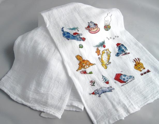 Christmas Cats Flour Sack Kitchen Towel