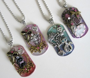 Embellished Dog Tag Jewelry Cat Pendants