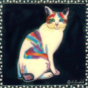 Ceramic cat tile, Katana Cat