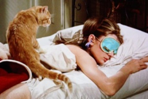 Scene from Breakfast at Tiffany's with Orangey the Cat.