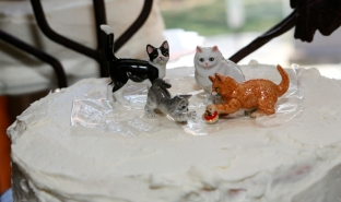 Miniature Porcelain Cats as Cake Topper for Wedding