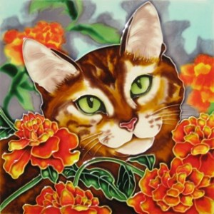 Ceramic Cat Tile, Yellow Cat with Marigold Flowers, 8x8