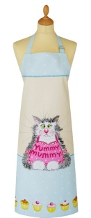 "Cotton Apron with Cat Design & ""Yummy Mummy"" words."
