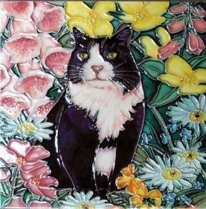 Black & White Cat w/Flowers 8x8 Ceramic Tile