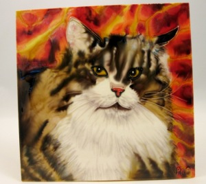 Furry Cat Ceramic Tile, 8x8