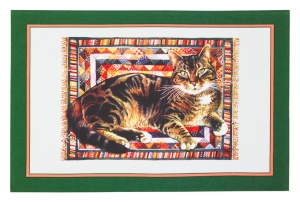 Tabby On Rug Cotton Tea Towel
