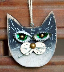 Cat Ornament, Black