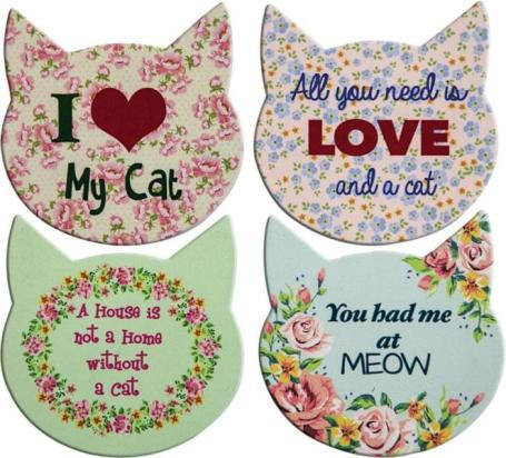 MW Cat Love Coasters Set
