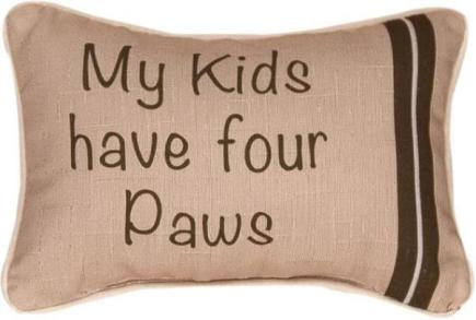 MW Cat Word Pillow My Kids Have Four Paws, front